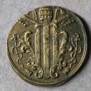 Italy Brass coin weight to weigh Papal States 1/2 Ducat Zeccino with arms of Benedict XIV