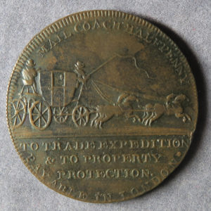 MB97081 18th Century token 1/2d, Middlesex 363, J Palmer Mail Coach
