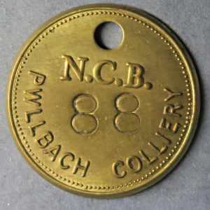 MB99075, Wales Colliery check token PWLLBACH COLLIERY, N.C.B.