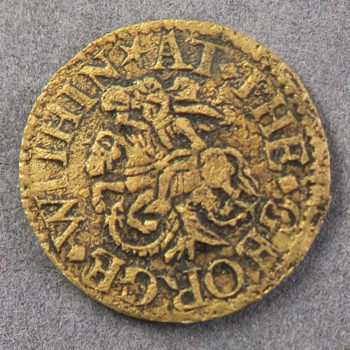 MB100002, 17th century token, London, Aldgate Within, 1/4d 1649 B NE at the George, W 71