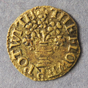MB100013, 17th century token, London 251A , Bishopsgate Within, IS at the Flower Pot,