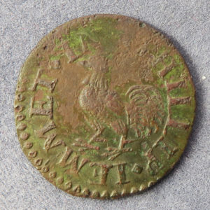 MB100051, 17th century farthing token, London 1517-18, Houndsditch, Phillip Jemmet, at the Cock 1/4d