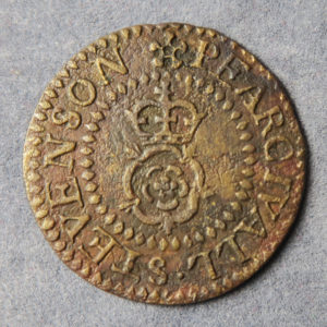 MB100070, 17th century token, London 2311, Queenhithe (St. Michael), Percival Stevenson, 1/2d crowned rose