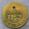 MB100342 Mining token pay check England Wigan NCB Pay numbered 1152